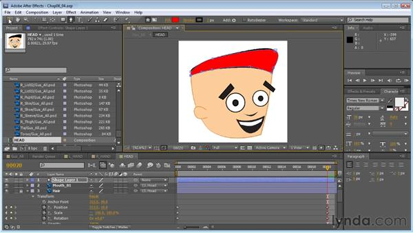 Creating a head turn: Hair shape: Creating Animated Characters in After Effects