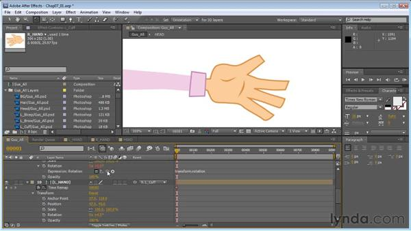 The basics of expressions: Controlling the wrist: Creating Animated Characters in After Effects