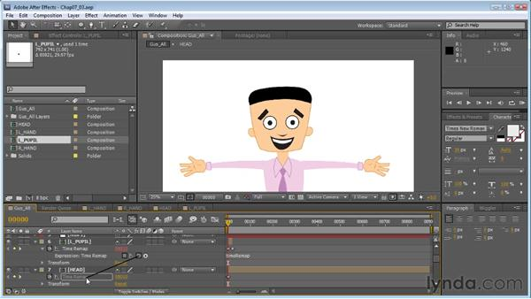 Using expressions to control pupils: Creating Animated Characters in After Effects