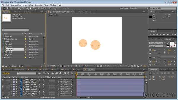 Creating blinks that move with a head turn: Creating Animated Characters in After Effects