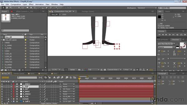 Strategies for parenting legs and feet: Creating Animated Characters in After Effects