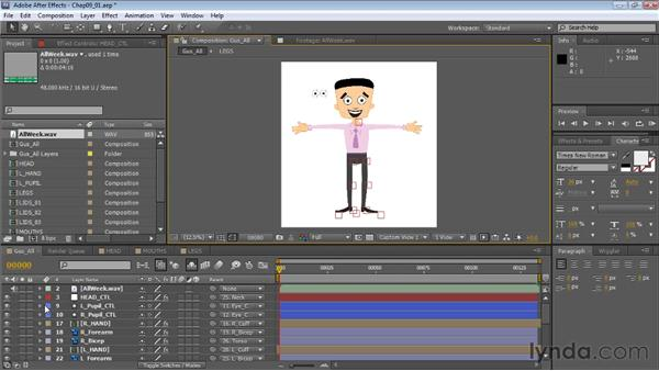 Setting up a scene for animation: Creating Animated Characters in After Effects
