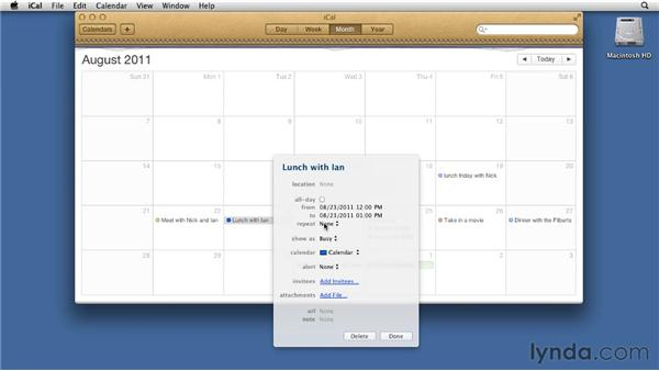 Scheduling appointments with iCal: Mac OS X Lion Essential Training