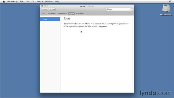 Using Dictionary: Mac OS X Lion Essential Training
