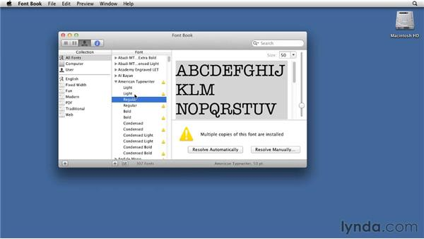Installing and managing fonts: Mac OS X Lion Essential Training