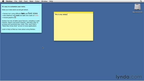 Creating quick notes using Stickies: Mac OS X Lion Essential Training