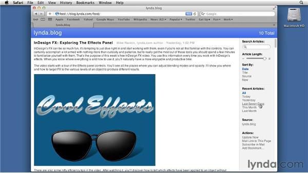 Adding and reading RSS feeds: Mac OS X Lion Essential Training