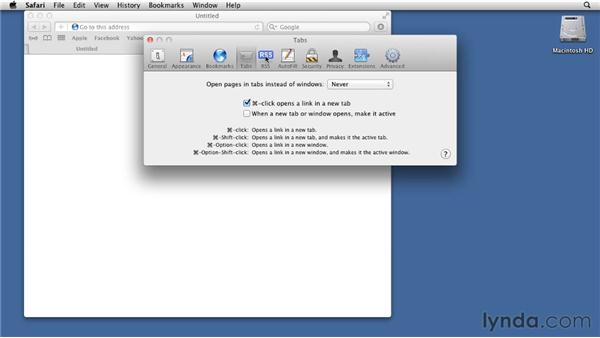 Working with Safari's preferences: Mac OS X Lion Essential Training
