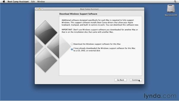 Setting up a Windows installation in Boot Camp: Mac OS X Lion Essential Training