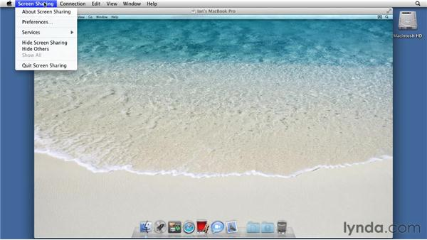 Screen sharing with a remote computer: Mac OS X Lion Essential Training