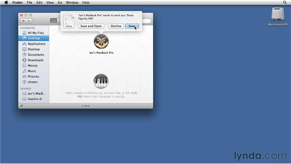 Sending files with AirDrop: Mac OS X Lion Essential Training