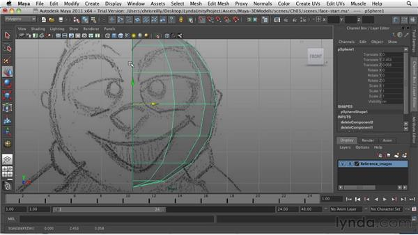 Modeling the head and nose: Game Character Creation in Maya