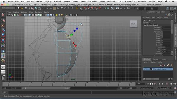 Building the body and a wing: Game Character Creation in Maya