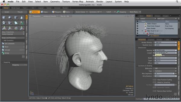 Creating the hair's surface: MODO 501 Essential Training