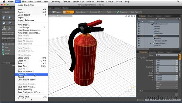 Exporting an object: MODO 501 Essential Training