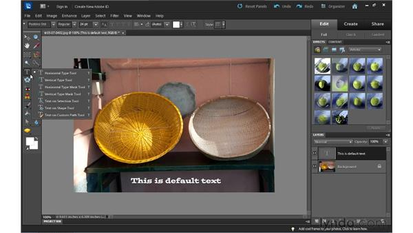 Adding text to images: Up and Running with Photoshop Elements 10
