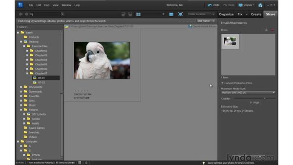 Sending photos by email: Up and Running with Photoshop Elements 10