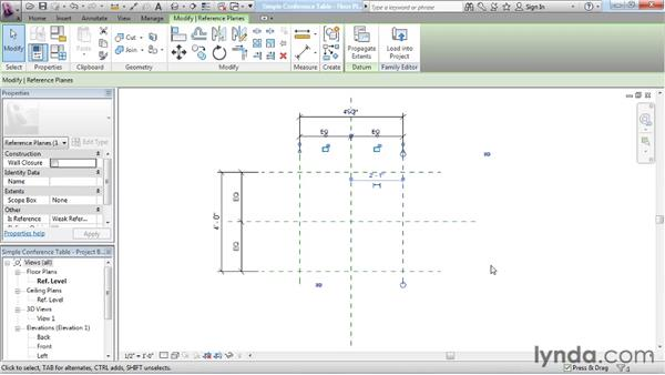 Adding reference planes, constraints, and parameters: Revit Architecture: The Family Editor
