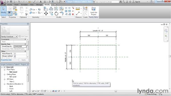 Adding geometry: Revit Architecture: The Family Editor