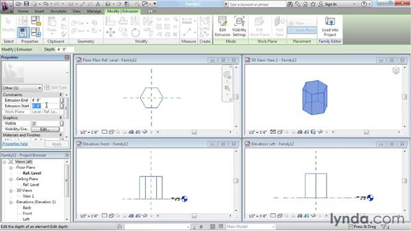 Creating extrusions: Revit Architecture: The Family Editor