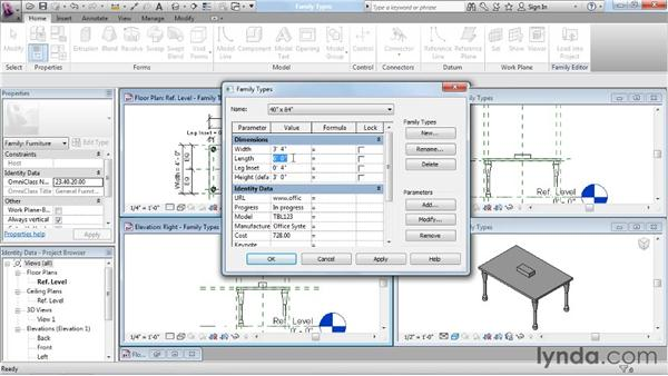 Adding family types: Revit Architecture: The Family Editor