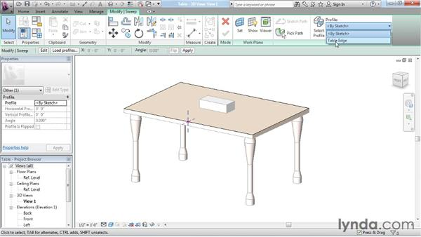 Creating a parametric table edge: Revit Architecture: The Family Editor