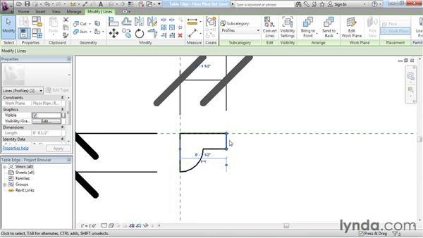 Modifying a profile: Revit Architecture: The Family Editor