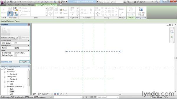 Setting up reference planes and constraints: Revit Architecture: The Family Editor