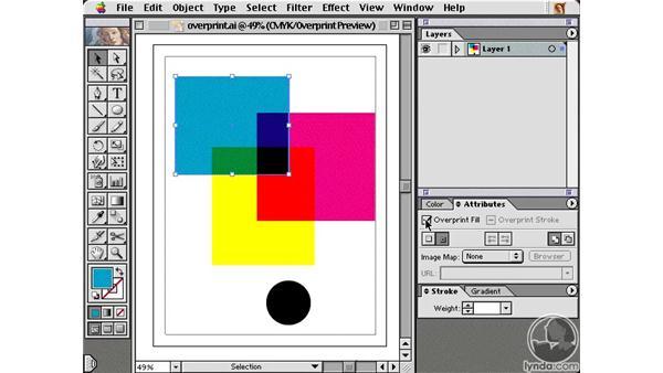 overprint preview: Learning Illustrator 10