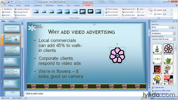 Inserting an animated GIF from the clip art gallery: PowerPoint 2007: Audio and Video in Depth