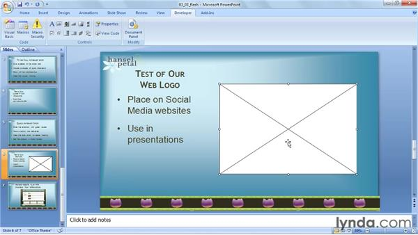 Playing a Flash animation: PowerPoint 2007: Audio and Video in Depth