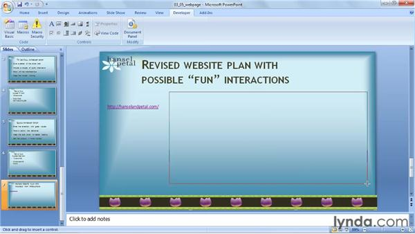 Inserting a web page: PowerPoint 2007: Audio and Video in Depth