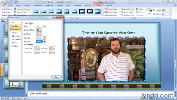 Designing a border: PowerPoint 2007: Audio and Video in Depth