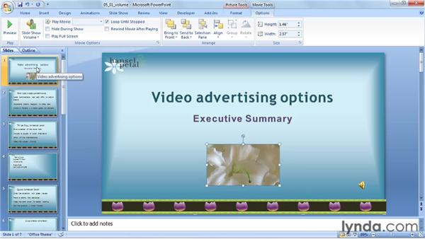 Setting the volume: PowerPoint 2007: Audio and Video in Depth