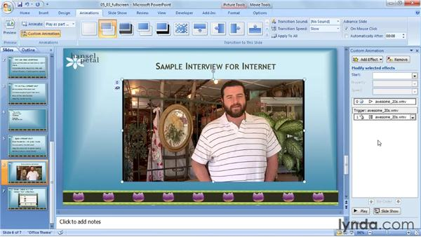 Playing full screen: PowerPoint 2007: Audio and Video in Depth