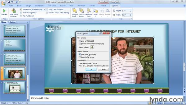 Hiding a video: PowerPoint 2007: Audio and Video in Depth