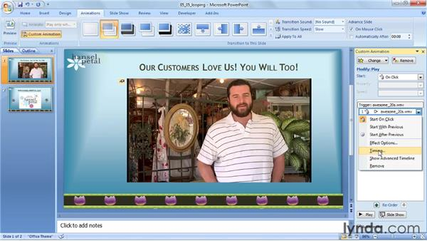 Looping a video: PowerPoint 2007: Audio and Video in Depth