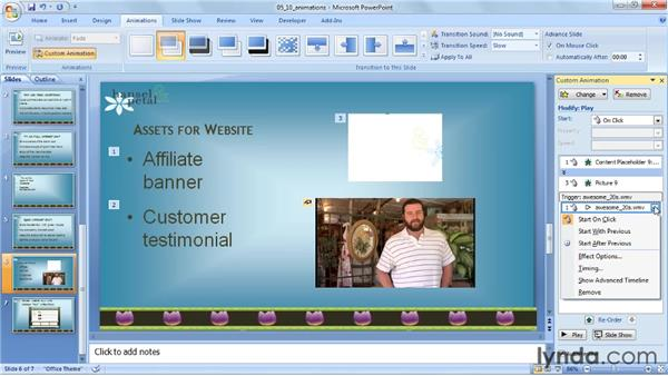 Triggering a video using animations: PowerPoint 2007: Audio and Video in Depth