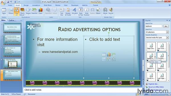 Inserting sounds from the clip art gallery: PowerPoint 2007: Audio and Video in Depth
