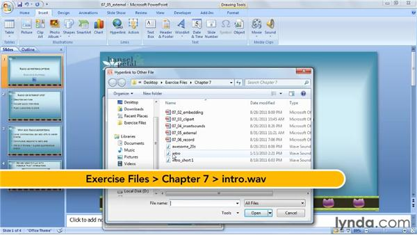 Playing a sound using an action button: PowerPoint 2007: Audio and Video in Depth