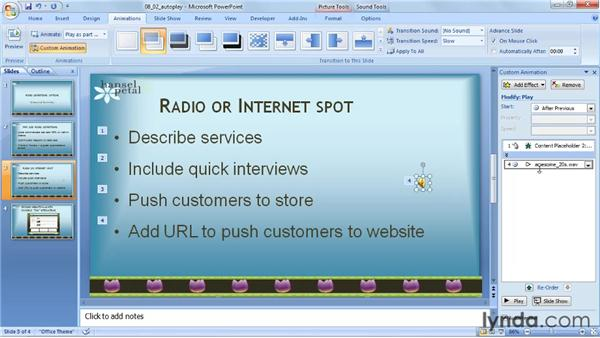 Playing audio automatically: PowerPoint 2007: Audio and Video in Depth