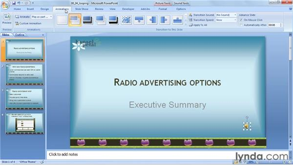Looping an audio clip: PowerPoint 2007: Audio and Video in Depth