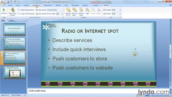 Delaying an audio clip: PowerPoint 2007: Audio and Video in Depth