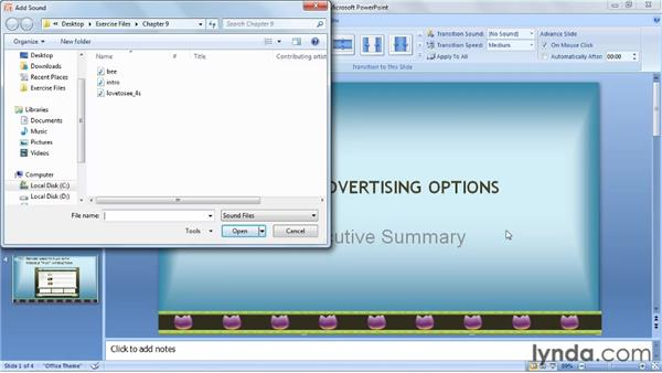 Adding sound effects to transitions: PowerPoint 2007: Audio and Video in Depth