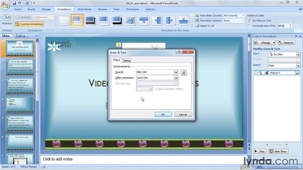 Adding sound effects to animations: PowerPoint 2007: Audio and Video in Depth