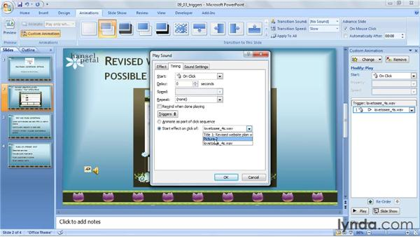 Triggering audio playback with objects: PowerPoint 2007: Audio and Video in Depth