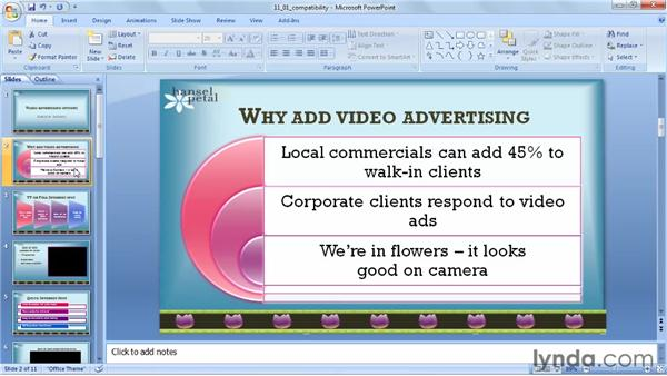 Running the Compatibility Checker: PowerPoint 2007: Audio and Video in Depth