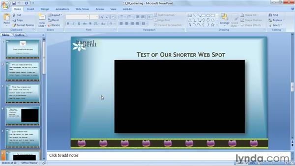 Extracting media files: PowerPoint 2007: Audio and Video in Depth