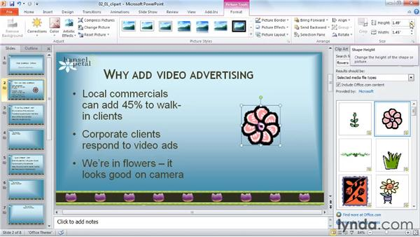 Inserting an animated GIF from the clip art gallery: PowerPoint 2010: Audio and Video in Depth