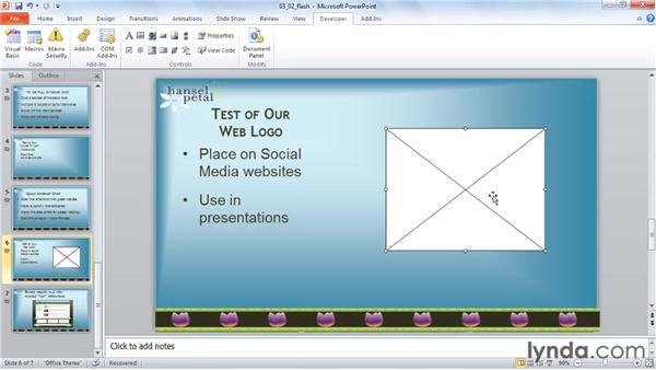 Playing a Flash animation: PowerPoint 2010: Audio and Video in Depth